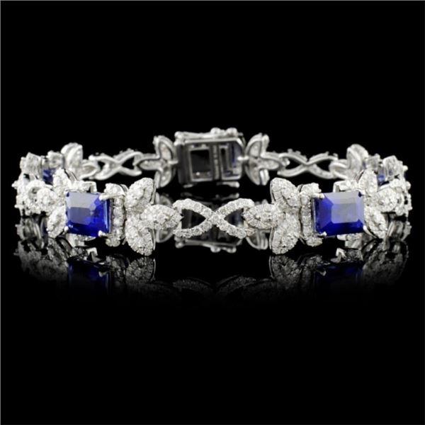 14K Gold 10.94ct Sapphire & 3.69ctw Diam Bracelet
