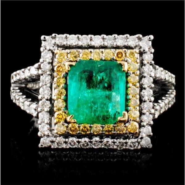 18K Gold 1.15ctw Emerald & 0.86ctw Diamond Ring