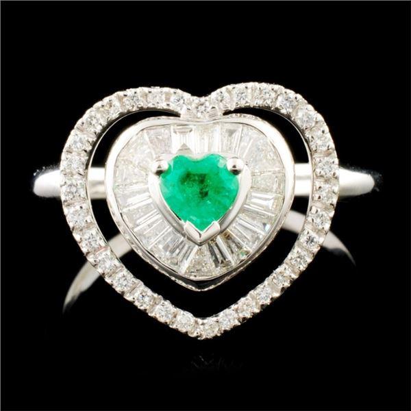 18K Gold 0.21ct Emerald & 0.61ctw Diamond Ring