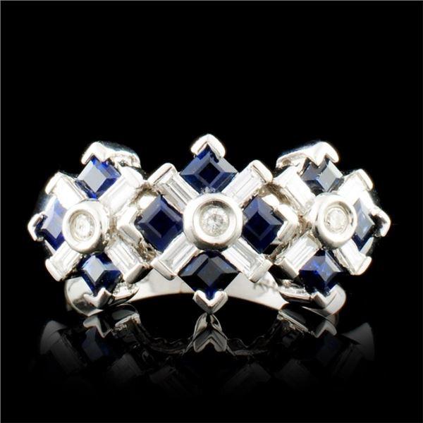 14K Gold 0.68ctw Sapphire & 0.28ctw Diamond Ring