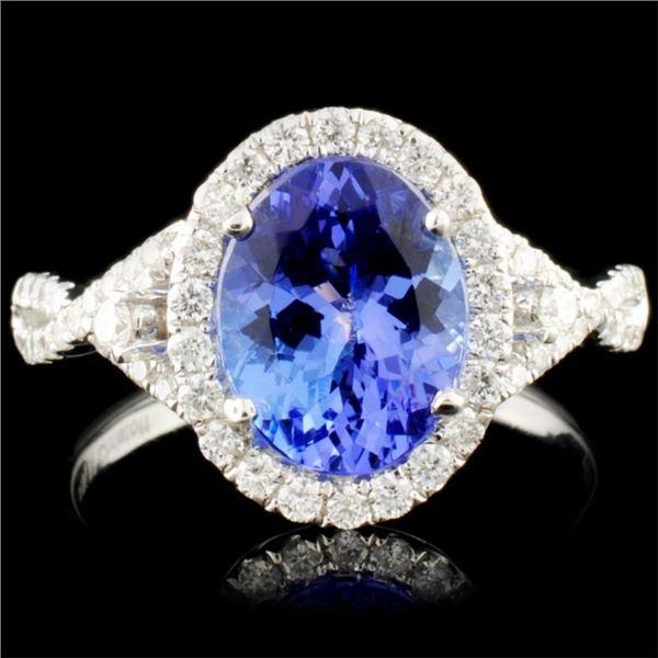 18K Gold 2.04ct Tanzanite & 0.45ctw Diamond Ring