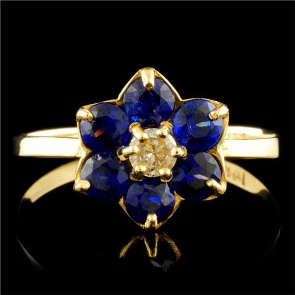 14K Gold 1.00ct Sapphire & 0.10ct Diamond Ring