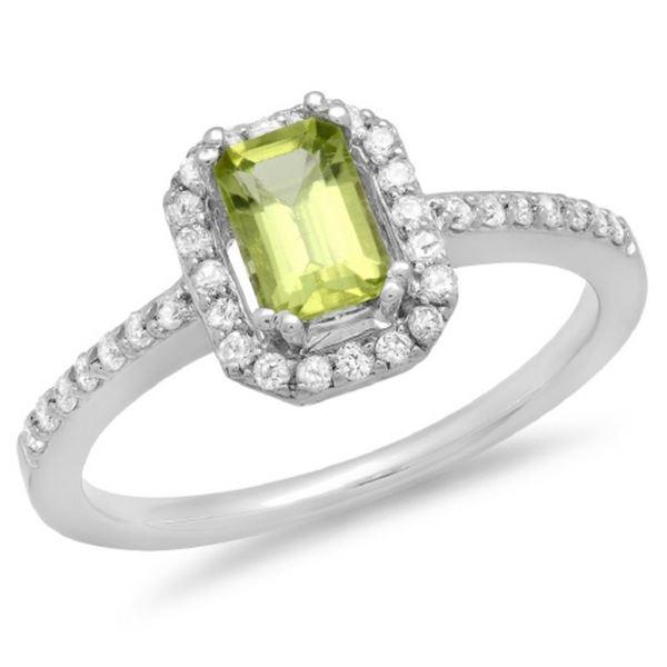 14K Gold 0.75ct Peridot & 0.25ct Diamond Ring