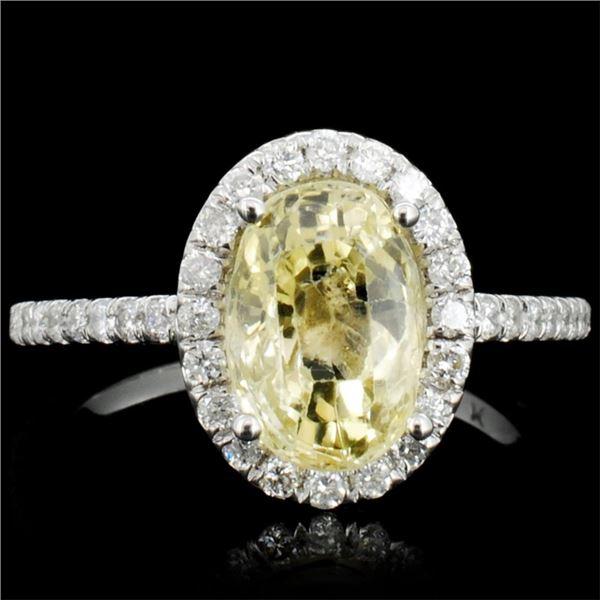 14K Gold 3.00ct Sapphire & 1.00ctw Diamond Ring