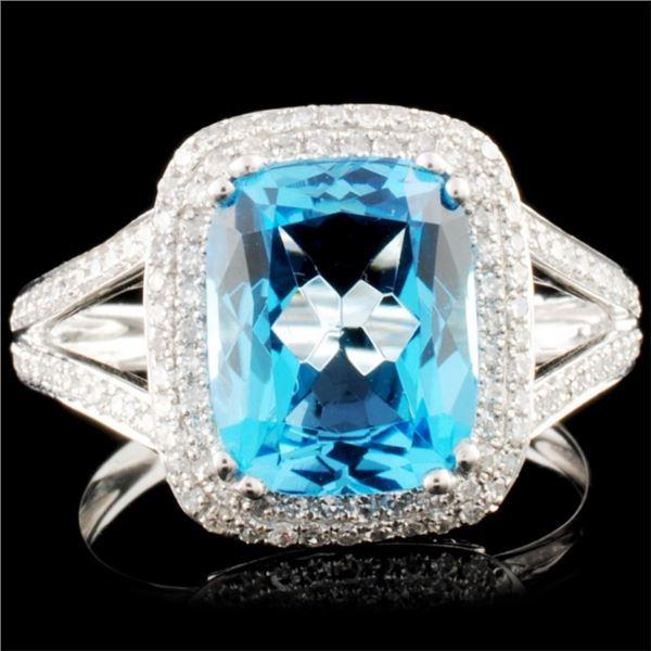 14K Gold 3.39ct Topaz & 0.44ctw Diamond Ring