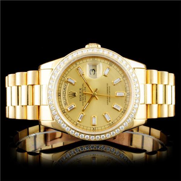 Rolex 18K Day-Date Diamond Wristwatch
