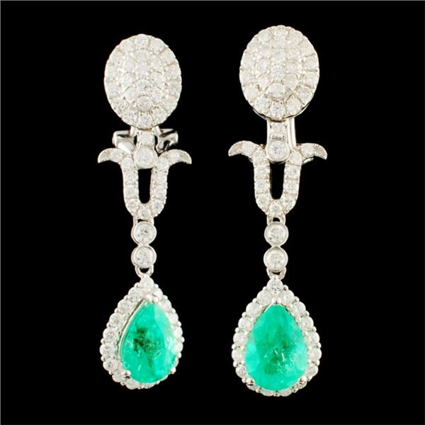 18K Gold 2.94ct Emerald & 1.93ctw Diamond Earrings