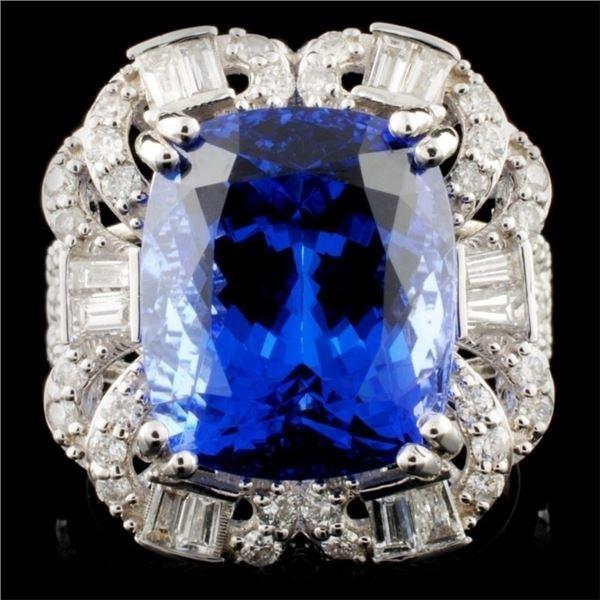 18K White Gold 10.25ct Tanzanite & 1.23ctw Diamond