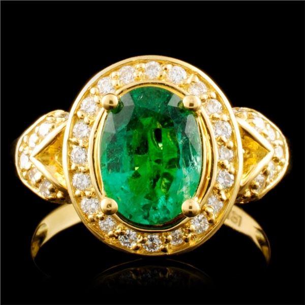 18K Gold 1.63ct Emerald & 0.38ctw Diamond Ring