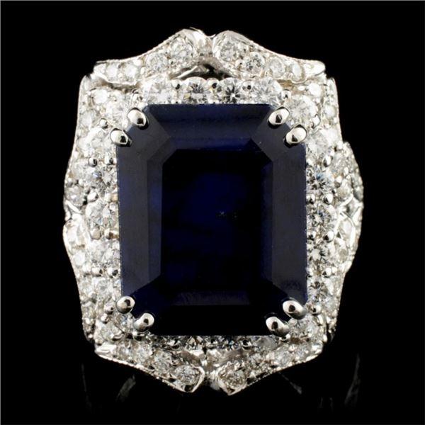 14K Gold 10.32ct Sapphire & 2.14ctw Diamond Ring