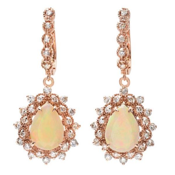 14K Gold 4.50ct Opal & 1.50ct Diamond Earrings