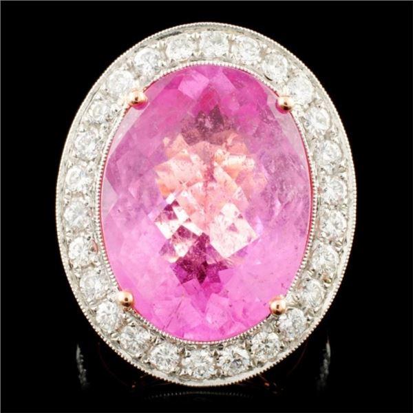 14K Gold 14.21ct Tourmaline & 1.50ctw Diamond Ring