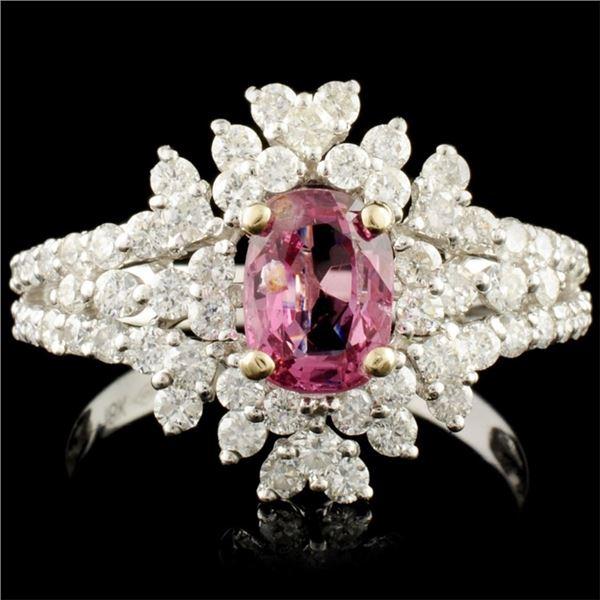 18K Gold 0.95ct Spinel & 1.06ctw Diamond Ring