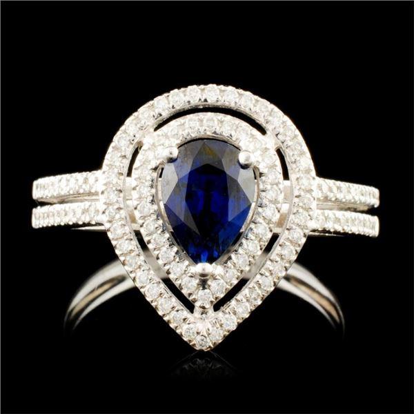 14K Gold 0.99ct Sapphire & 0.29ctw Diamond Ring