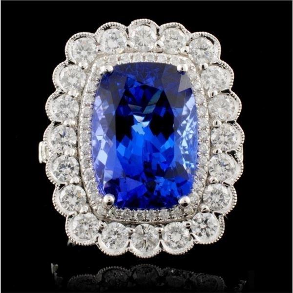 18K White Gold 6.76ct Tanzanite & 1.55ct Diamond R