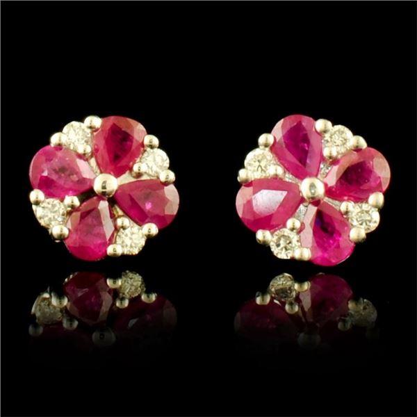 14K Gold 3.00ct Ruby & 0.40ct Diamond Earrings