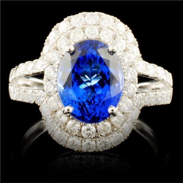 18K Gold 2.78ct Tanzanite & 1.05ctw Diamond Ring