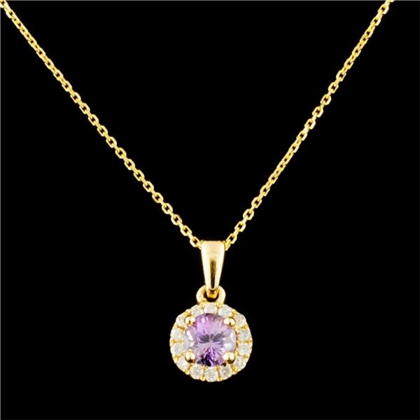 14K Gold 0.60ct Spinel & 0.16ctw Diamond Pendant