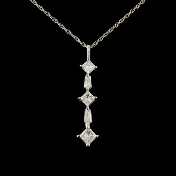 14K White Gold 0.85ctw Diamond Pendant