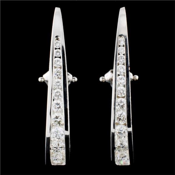 14K White Gold 2.07ctw Diamond Earrings