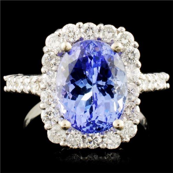 14K Gold 4.59ct Tanzanite & 1.01ctw Diamond Ring