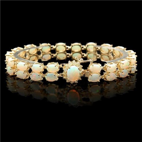 14k Gold 14.00ct Opal & 0.50ct Diamond Bracelet