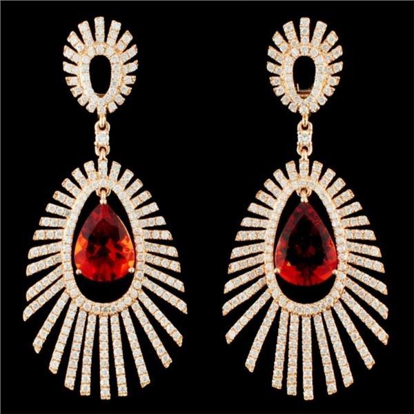 14K Gold 5.63ct Sun Stone & 3.55ctw Diamond Earrin