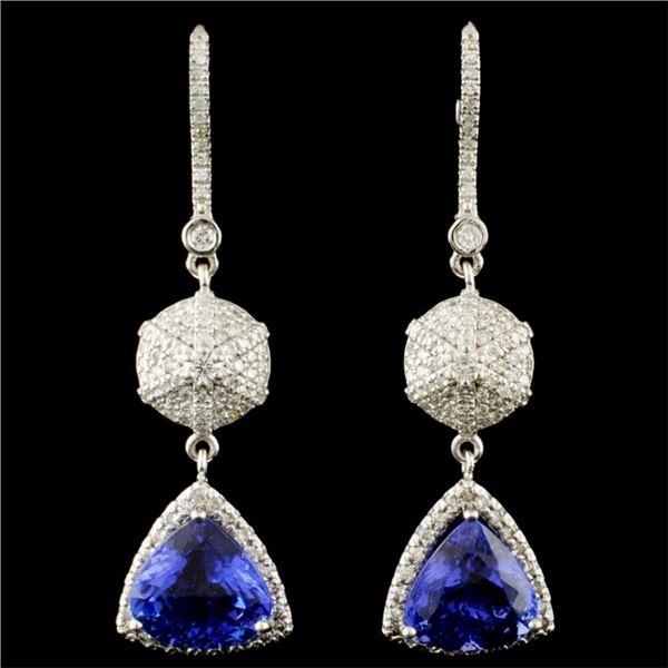 14K Gold 7.42ctw Tanzanite & 1.05ctw Diamond Earri