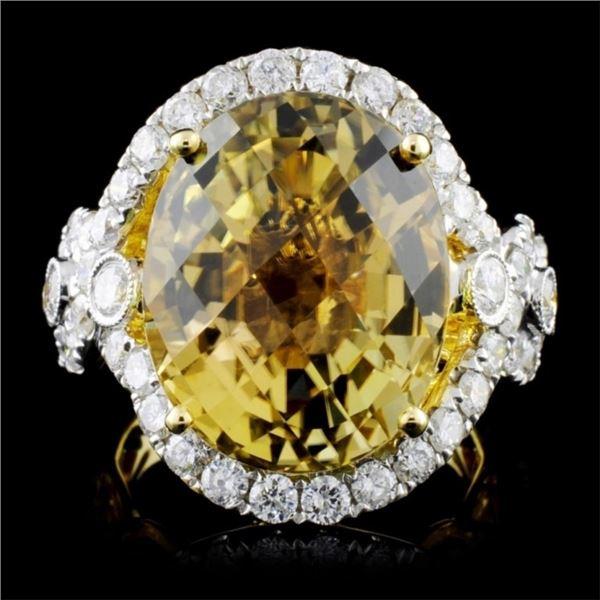 18K Gold 14.45ct Tourmaline & 1.84ctw Diamond Ring