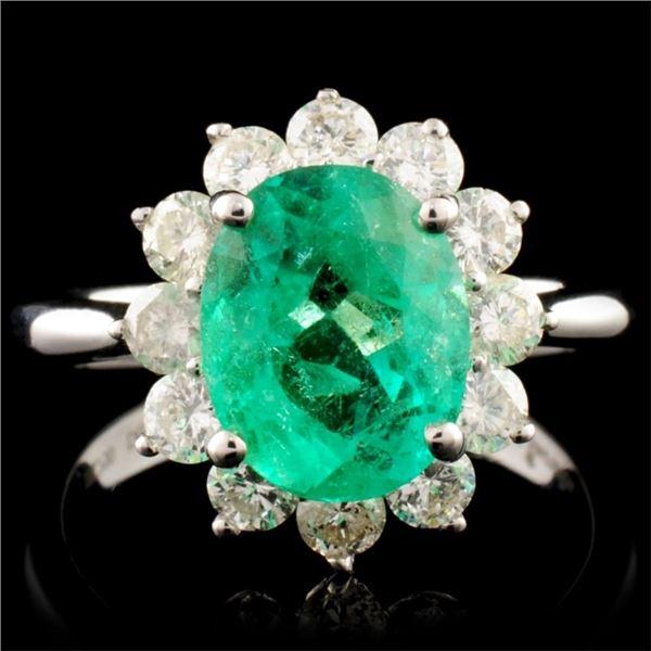 18K Gold 2.20ct Emerald & 0.89ctw Diamond Ring