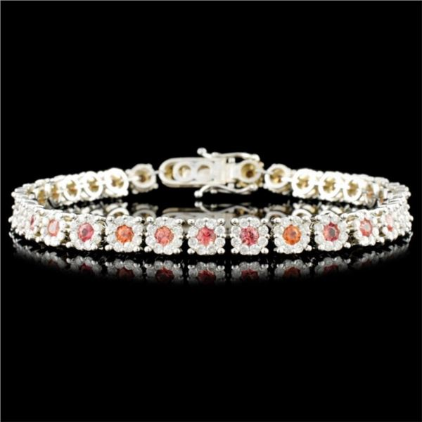 18K Gold 2.82ctw Sapphire & 2.70ctw Diamond Bracel