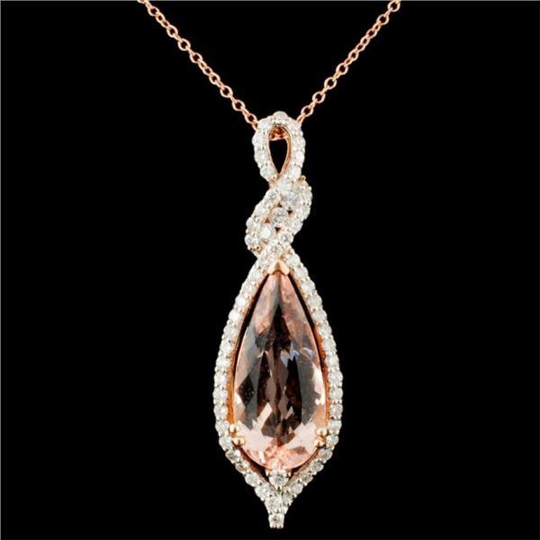 14K Gold 4.09ct Morganite & 0.80ctw Diamond Pendan