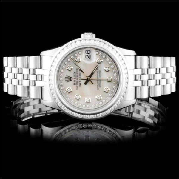 Rolex SS 31mm DateJust Diamond Wristwatch