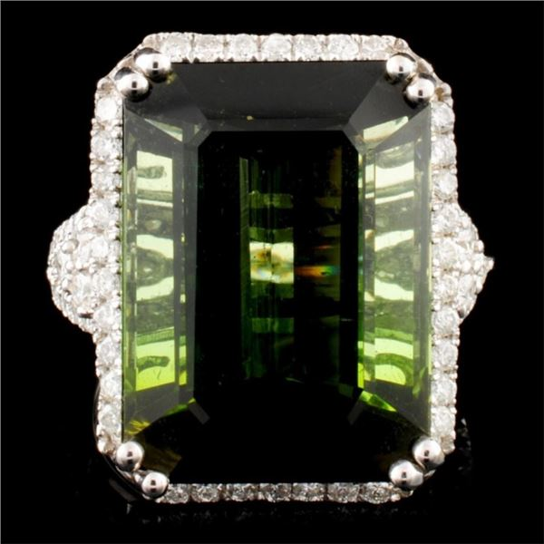 14K Gold 24.39ct Tourmaline & 0.97ctw Diamond Ring