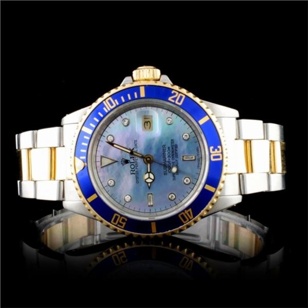 Rolex YG/SS 40MM Submariner Diamond MOP Wristwatch
