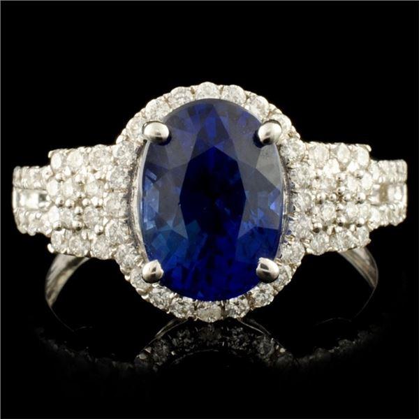 18K Gold 3.23ct Sapphire & 0.48ctw Diamond Ring