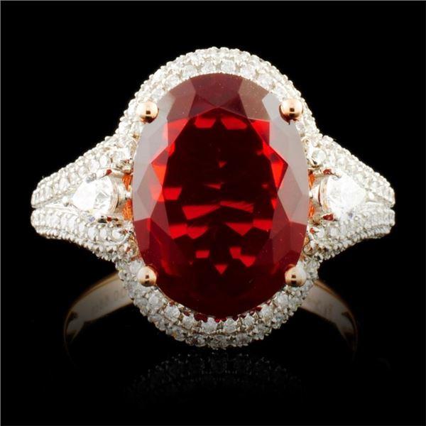 14K Gold 3.13ct Opal & 0.60ctw Diamond Ring