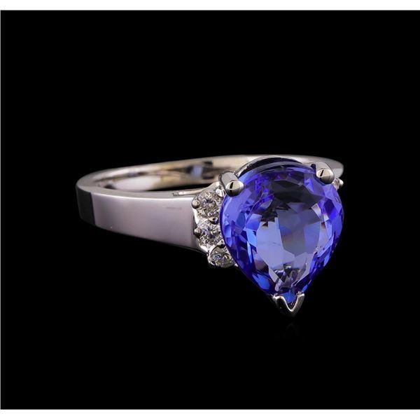 3.86 ctw Tanzanite and Diamond Ring - 14KT White Gold
