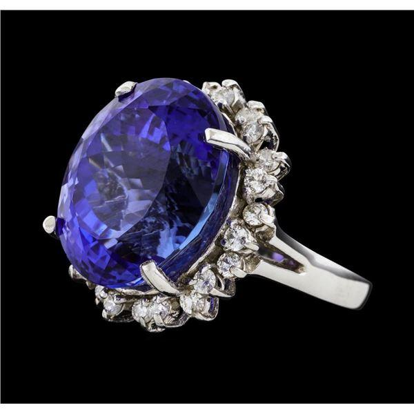 22.03 ctw Tanzanite and Diamond Ring - 14KT White Gold