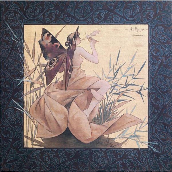 Alexandre de Riquer - Winged Nymph Blowing Amongst Reeds