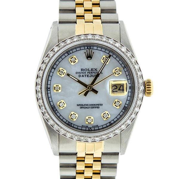 Rolex 2T Mother Of Pearl Diamond 36MM Oyster Perpetaul Datejust