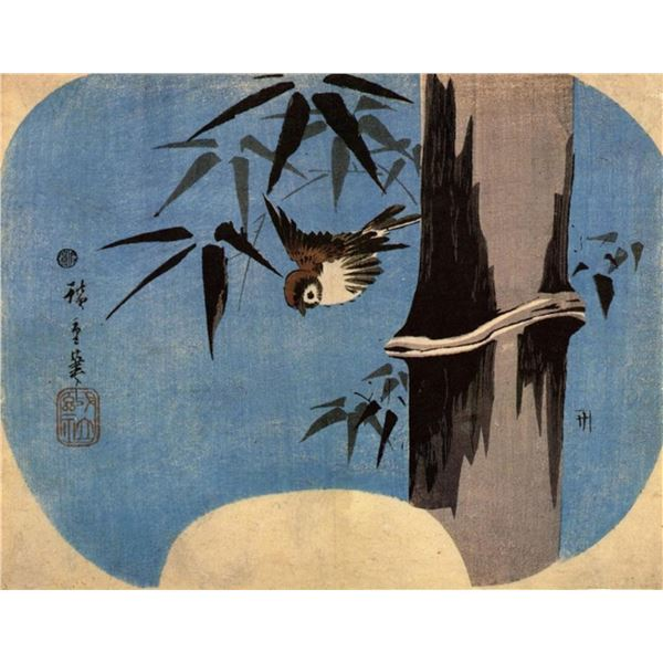 Hiroshige Sparrow and Bamboo 4