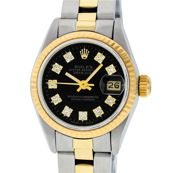 Rolex Ladies 26 Black Diamond Oyster Perpetual Datejust Polished Serviced