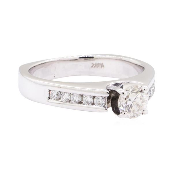 0.80 ctw Diamond Wedding Ring with a Euro Shank - 14KT White Gold