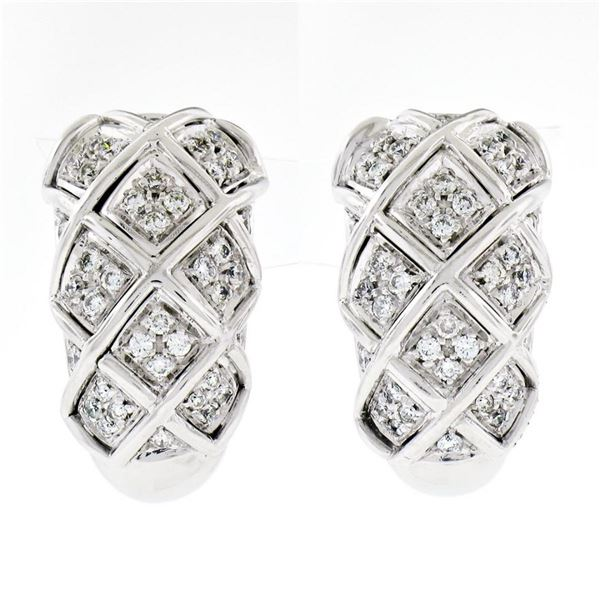 18K White Gold 1.09 ctw Round Brilliant Pave Diamond Braided Cuff Omega Earrings