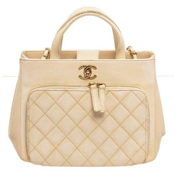 Chanel Cream Caviar Leather Business Affinity Shoulder Bag