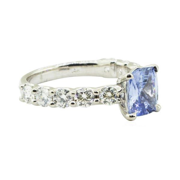 3.86 ctw Rectangular Cushion Brilliant Blue Sapphire And Diamond Ring - 14KT Whi