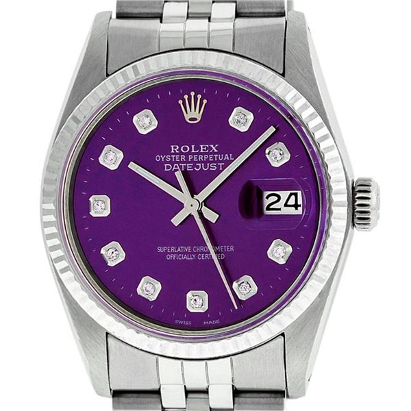 Rolex Mens Stainless Steel Purple Diamond 36MM Datejust Oyster Perpetual Wristwa