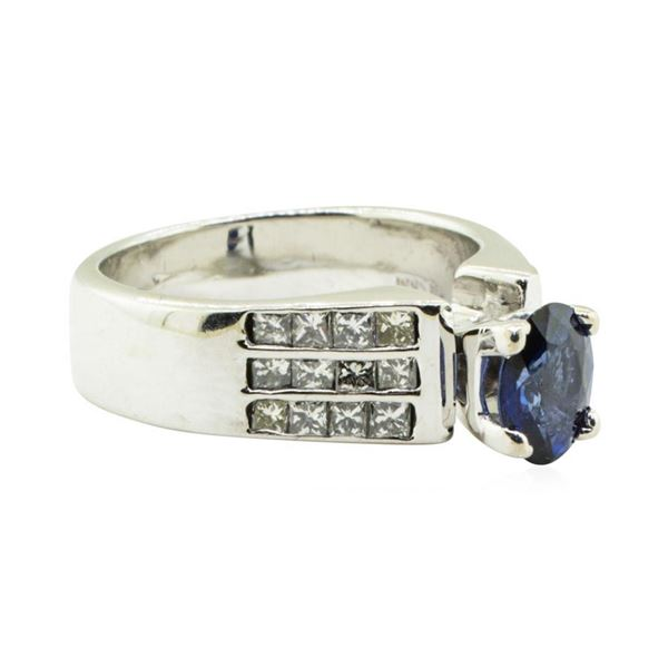2.17 ctw Oval Brilliant Blue Sapphire And Diamond Ring - 14KT White Gold