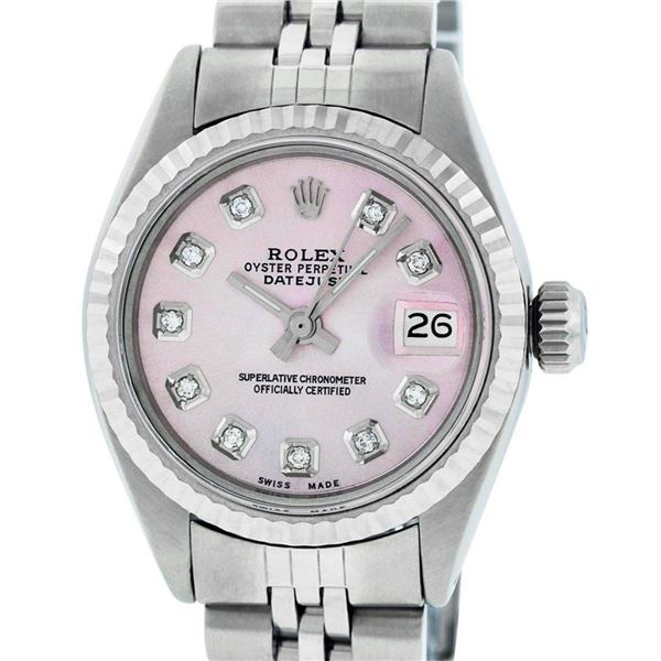 Rolex Ladies 26 Stainless Steel Pink Diamond Oyster Perpetual Datejust Wristwatc